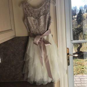 Rare Editions Girls Champagne Dress
